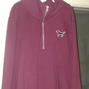 Pink Vs maroon quarter zip sweatshirt